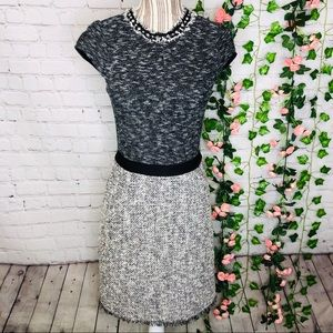 Rebecca Taylor Studded Tweed Paneled Sheath Dress